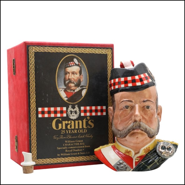 Grants Character Jug 25 Year Old Royal Doulton Blended Scotch Whisky 75cl 43%