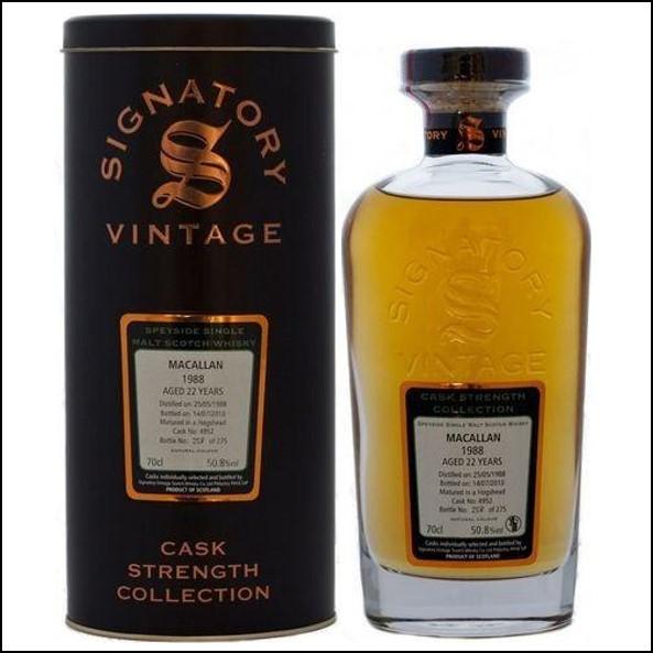 Macallan 1988 22 Year Old 2010 Speyside Single Malt Scotch Whisky Signatory 70cl 50.8%