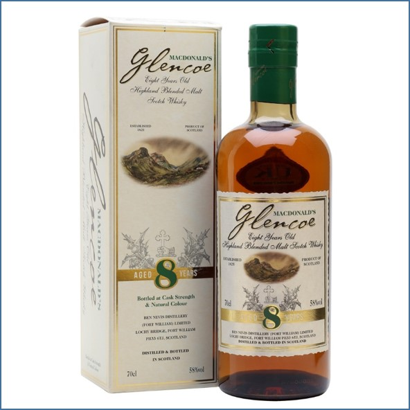 Macdonald's Glencoe 8 Year Old Blended Scotch Malt Whisky Ben Nevis 70cl 58%