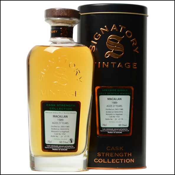 Macallan 1989 Signatory Vintage 27 Year Old Cask Strength 70cl 60.5%