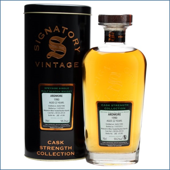 Ardmore 22 Year Old 1990 Cask #30120+24 Signatory 70cl 59.2%