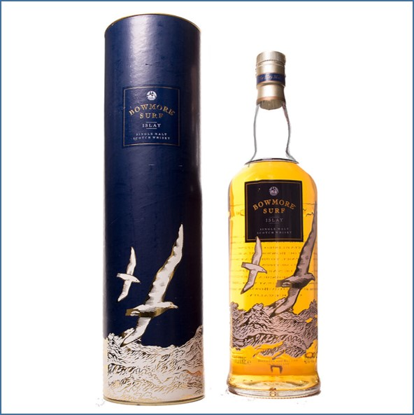 Bowmore Surf old Label Siebdruck Blue box 100cl 40%