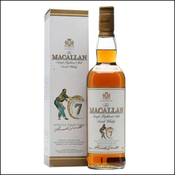 麥卡倫7年/ 圓瓶-滾筒版 Macallan 7 Year Old Bot.1990s Speyside Single Malt Scotch Whisky 70cl 40%