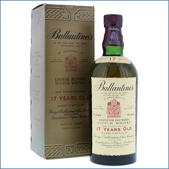 Ballantine's 17 Year 1950s 0.8 QUART 86 US Proof