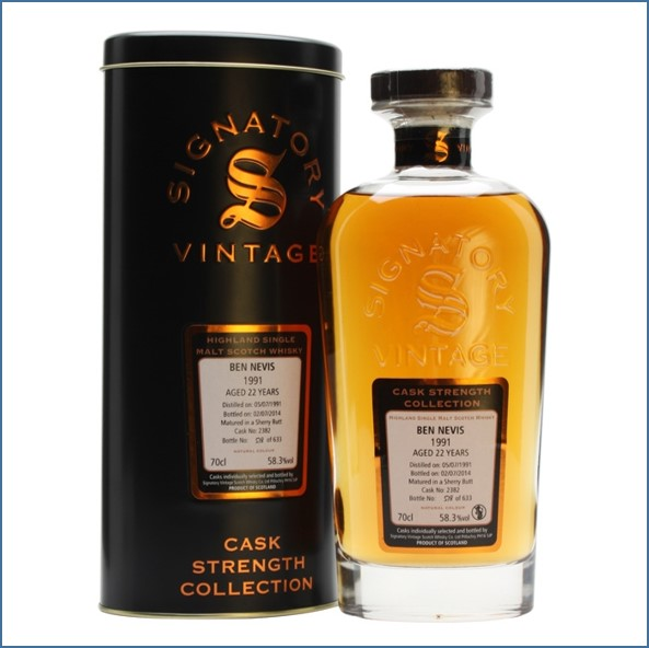 Ben Nevis  22 Year Old 1991 Sherry #2382 Signatory 70cl 58.3%