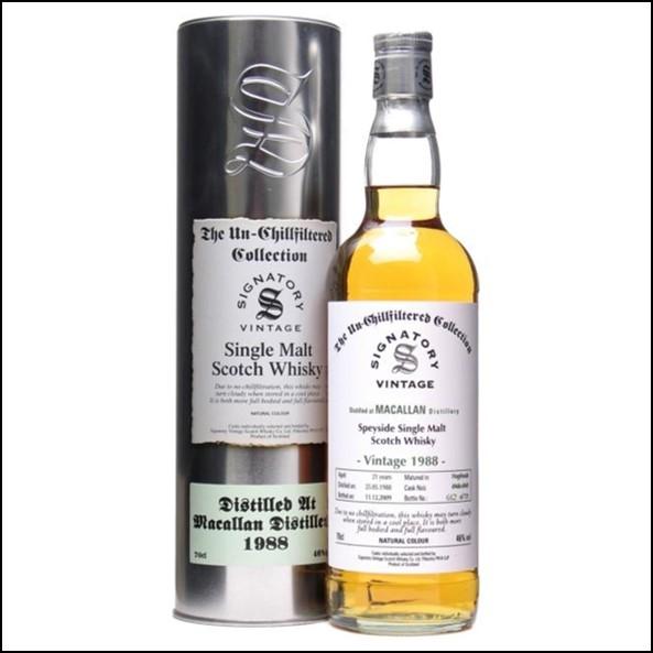Macallan 1988 21 Year Old Speyside Single Malt Scotch Whisky Signatory 70cl 46%