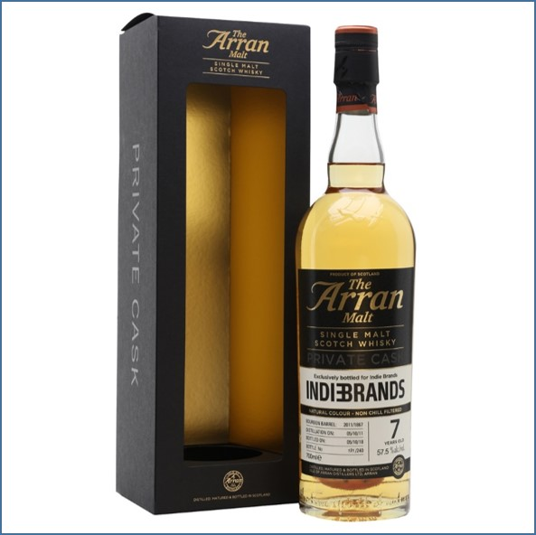 Arran 7 Year Old 2011PEATED  Private Cask For Indie Brands 70cl 57.5%