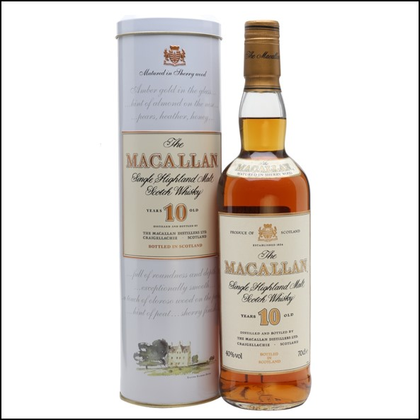 收購麥卡倫10年/ Macallan  10 Year Old  Tin 1990's 70cl 40%
