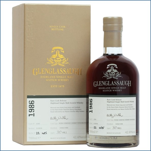 Glenglassaugh 1986 30 Year Old Cask #1393 Matured in a Pedro Ximenez Sherry Puncheon Rare Cask Batch 3 70cl 42.6%