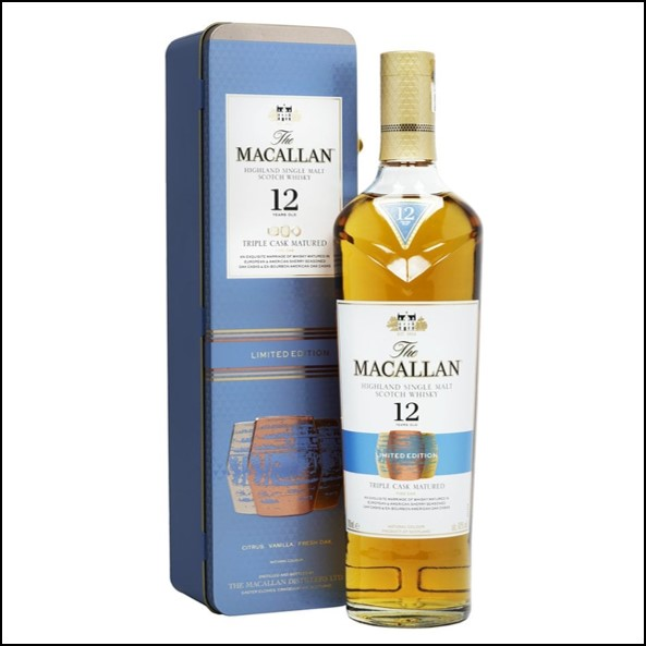 收購麥卡倫三桶 鐵盒版/Macallan 12 Year Old Triple Cask Gift Tin70cl 40%