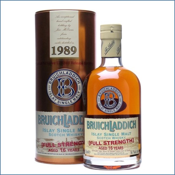 Bruichladdich 16 Year Old 1989 Full Strength Sherry Wood 70cl 56.1%