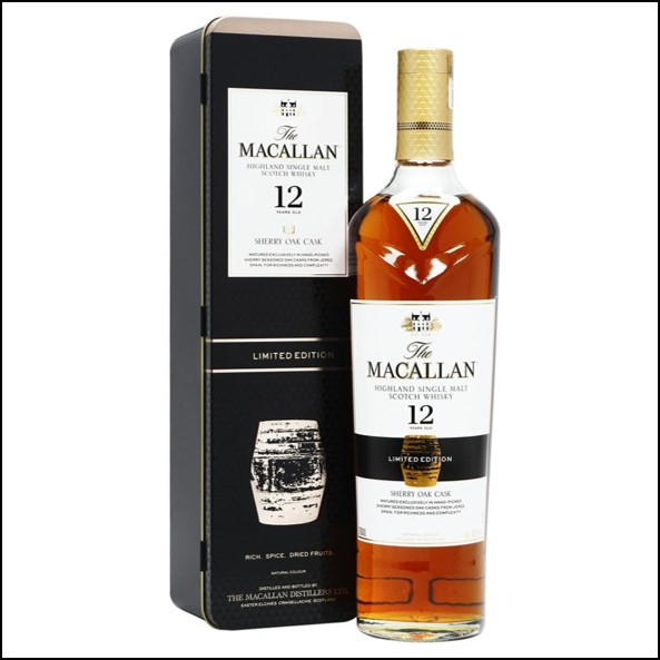 收購麥卡倫12年雪莉桶 鐵盒/Macallan 12 Year Old Sherry Oak Gift Tin 70cl 40%