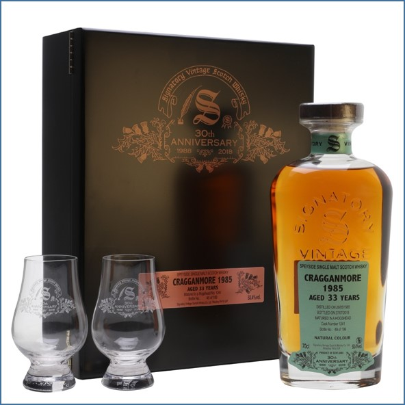 Cragganmore 1985 33 Year Old Signatory 30th Anniversary Speyside Single Malt Scotch Whisky Signatory 70cl 53.4%
